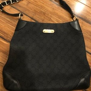 Gucci black bag gg twill with gold chain